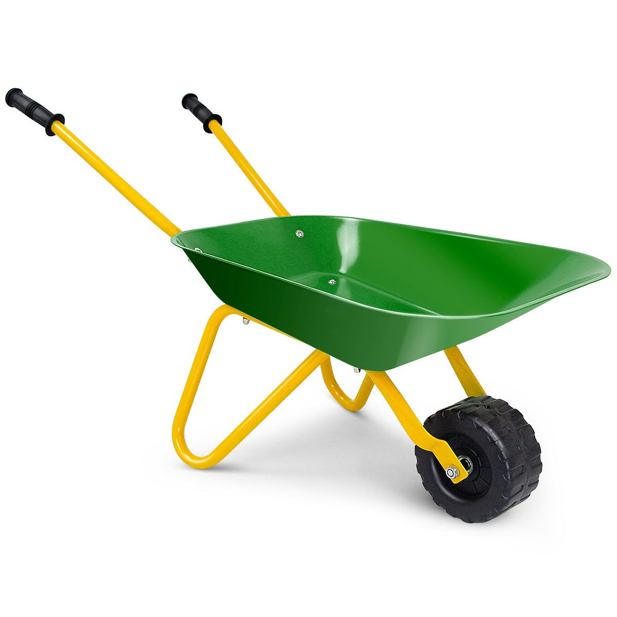 Costzon Kids Metal Wheelbarrow, Yard Rover Steel Tray, Metal Construction Toys Kart, Tote Dirt/Leaves/Tools in Garden for Toddlers, Green by Costzon