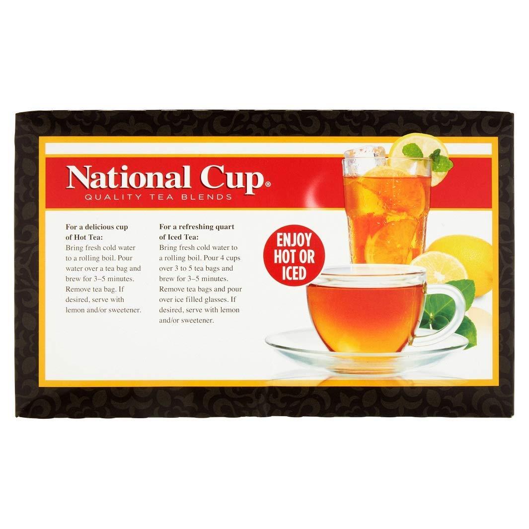 National Cup, Tagless Orange Pekoe and Pekoe Cut Black Tea Blend, Tea Bags, 100 Ct, Pack of 3