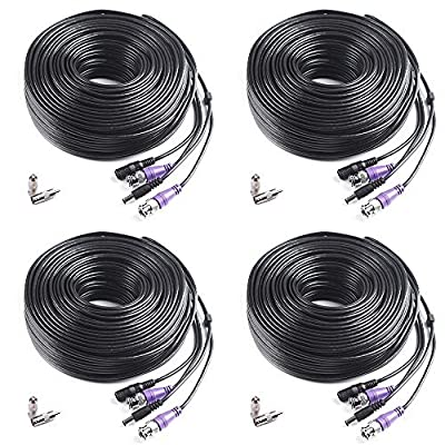 Masione 100ft HD Video Power Security Camera Cable with BNC RCA Connectors Pre-Made All-in-One Extension Wire Cord for 1080P 960H & HD-CVI 960P CCTV Surveillance Camera DVR System