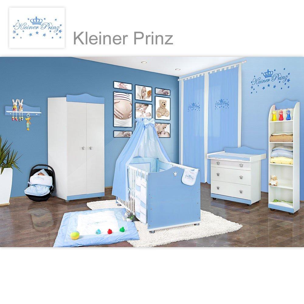 Babyzimmer 23-tlg. Kleiner Prinz inkl. Wandregal, Standregal & Textilien in Blau