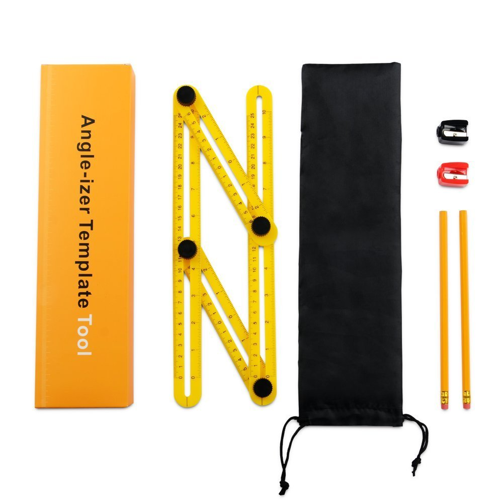 Universal Angularizer Ruler -  Angleizer Template Tool -  Angularized Ruler -  Angular Ruler - Angle Measurement Tool With 2 Pencils, 2 Sharpeners & Storage Bag