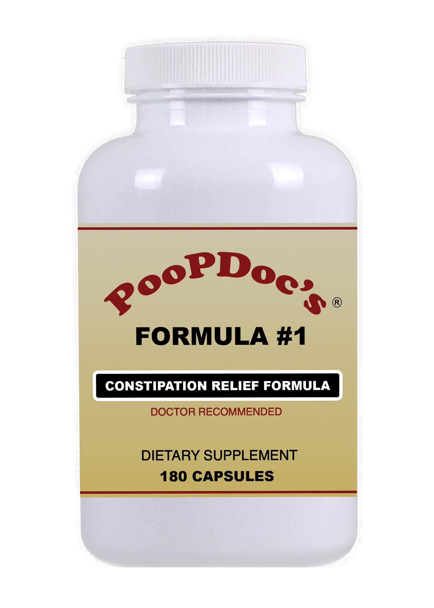 PoopDoc's Constipation Relief Formula #1 (Large Bottle - 180 Cap) by Poopdoc