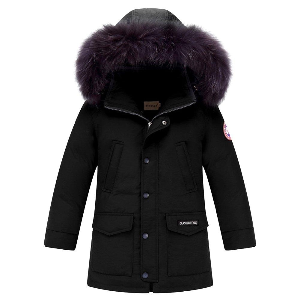 LSERVER Boy's Winter Hooded Cotton Coat Jacket Parka Outwear