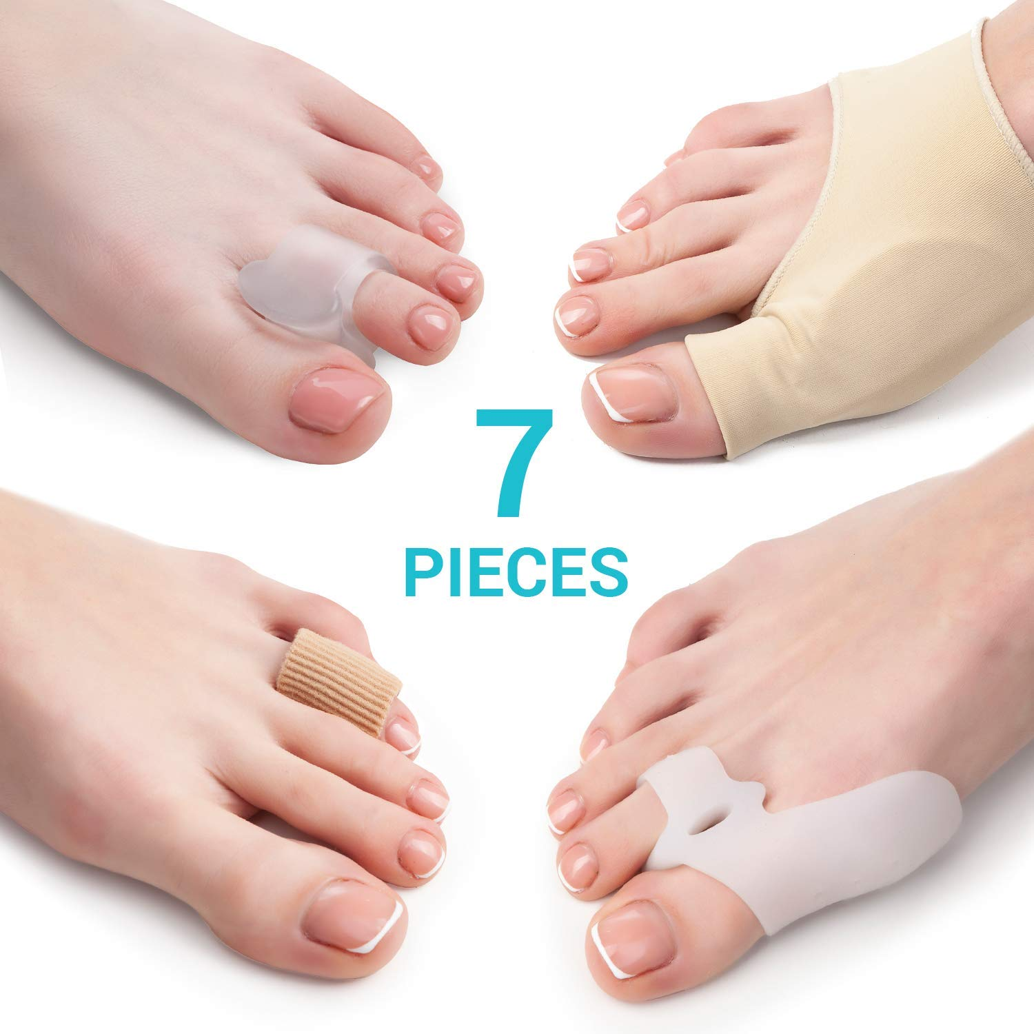 42ca1af0ada Bunion Corrector and Bunion Relief Kit - 7 Piece Set - 2 Sleeves with Gel  Pad - 2 Toes Spacers...