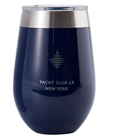 Yacht Club LX 12 oz Insulated Stemless Wine Glass Tumbler with Velvet-Wrapping Pouch -