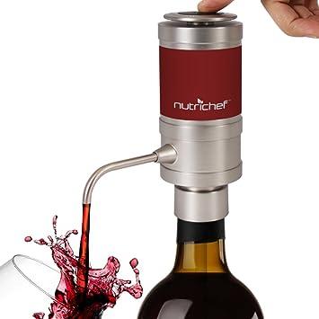 Dispensador de vino eléctrico, Portátil y automático, Sistema de difusor de aire para vino rojo y blanco con boquilla de metal - NutriChef PSLWPMP50: ...