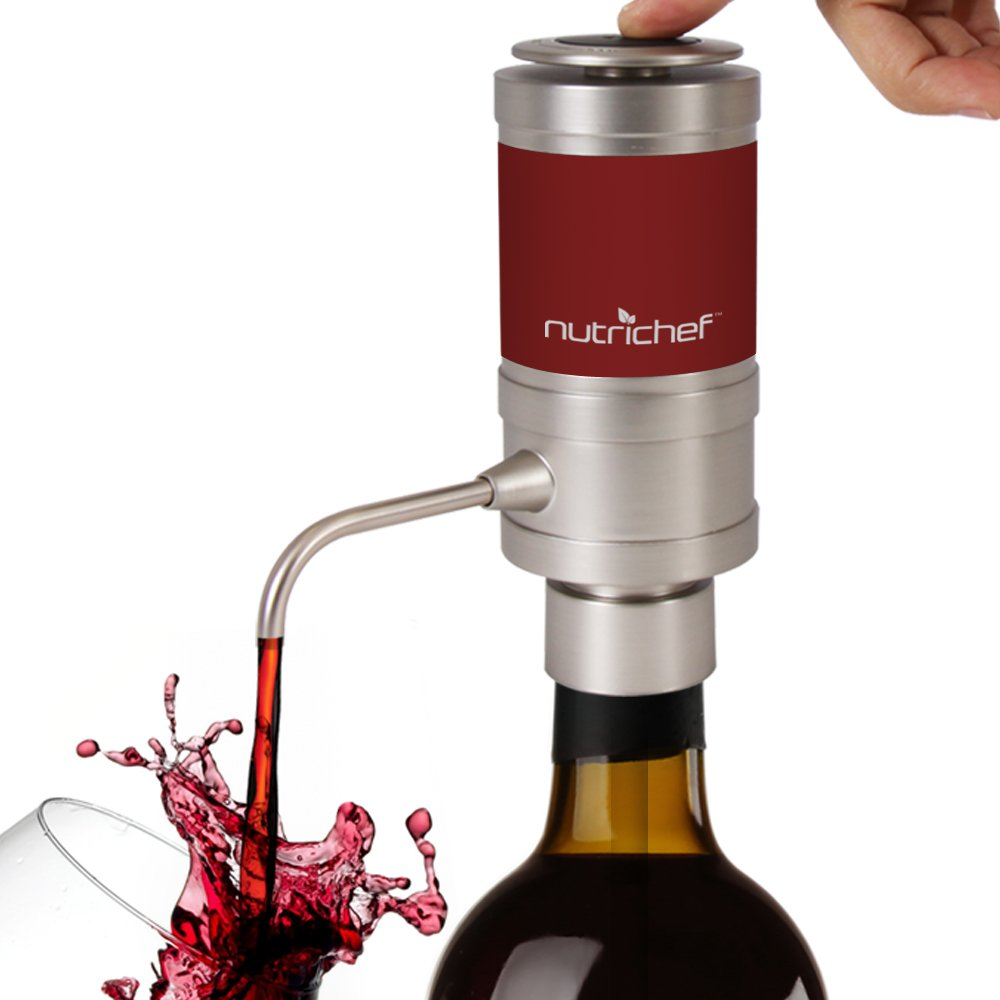 Electric Wine Aerator Dispenser Pump - Portable and Automatic Bottle Breather Tap Machine - Air Decanter Diffuser System for Red and White Wine w/Unique Metal Pourer Spout - NutriChef PSLWPMP50