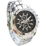 Classic Mens Stainless Steel Quartz Analog Sport Wrist Watch Black