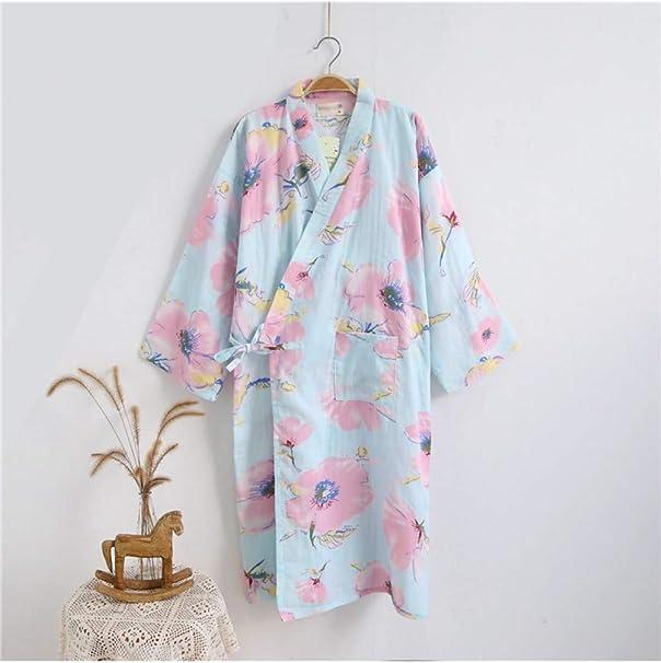 SPNP Albornoz de algodón Delgado para Mujer Kimono Albornoz Cómodo Verano Primavera Otoño Conjunto de camisón Floral Bata Estampada Batas de SPA, Verde, M: Amazon.es: Ropa y accesorios