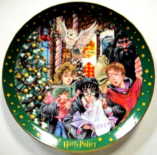 """Harry Potter Christmas At Hogwarts """"Magic Will Happen"""" Limited Edition Plate 24K Gold Details"""