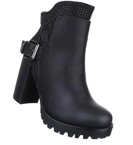 Damen Schuhe Stiefeletten Stiefel Strass Besetzte Schwarz 41 YkQAH