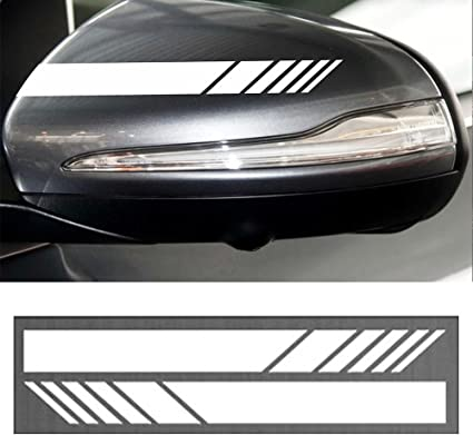 Calistouk 2 pegatinas decorativas para espejo retrovisor de coche pegatinas de vinilo con dise/ño de rayas