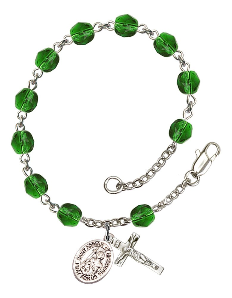 Silver Plate Rosary Bracelet features 6mm Emerald Fire Polished beads Adrian of Nicomedia medal. The charm features a St The Crucifix measures 5//8 x 1//4