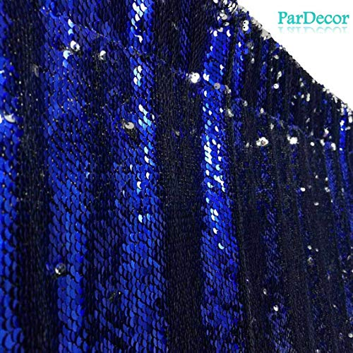 ParDecor Sequin-Curtain-Backdrop-10FTx10FT-Mermaid Silver to Royal Blue Shower Curtain Sequin-Fabric-Curtains Sparkly Backdrop for Wedding/Prom/Birthday~0611C