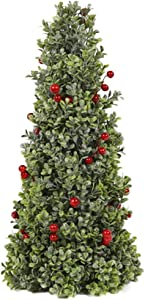"""SN Decor Boxwood Berry Cone Trees Artificial Christmas Tree Set of 2 Red Berry and Frosted Boxwood Cone Tree 17"""" Tall Tabletop Christmas Decor Berry Boxwood Unlit Small Holiday Tree - New"""