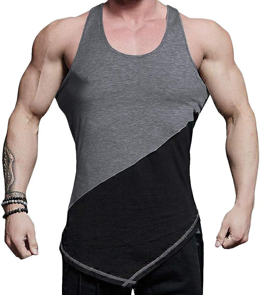 URRU Mens Gym Tank Tops Workout Muscle Y-Back Vests Training Bodybuilding Fitness Shirts