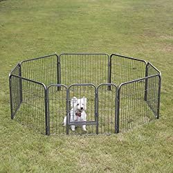 """Fur Family Pet Playpen Exercise Play Pen 8 Panel Kennel Outdoor Indoor Dog Cat Foldable Cage, 24""""-inch"""