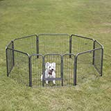 "24"" Double Metal Door Dog Playpen Crate with 8 Panel Fence Ideal for Exercise and Training for Your Pet"