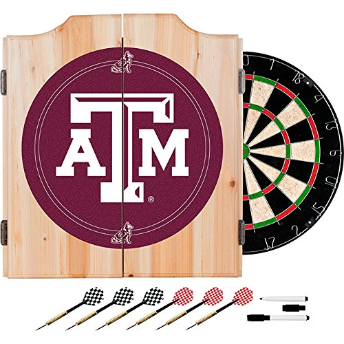 Texas A&M University Deluxe Solid Wood Cabinet Complete Dart Set - Officially Licensed! by TMG