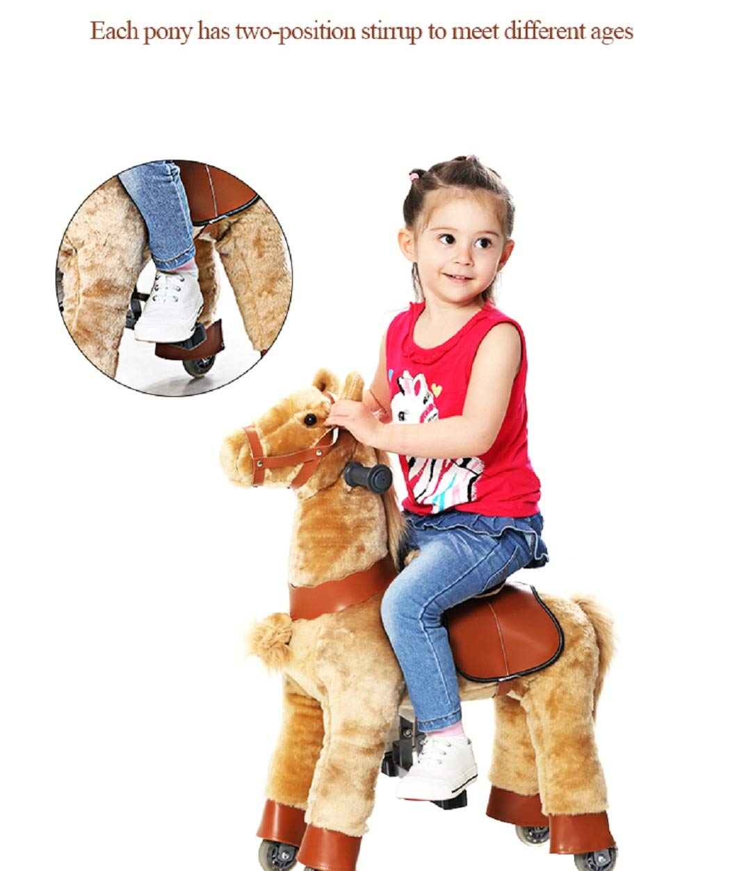 Brown Horse, Small Happy Island Cute Little Pony Foal Giddy Up Ride On Horse Walking Simulated No Battery No Electricity Mechanical Horse Large
