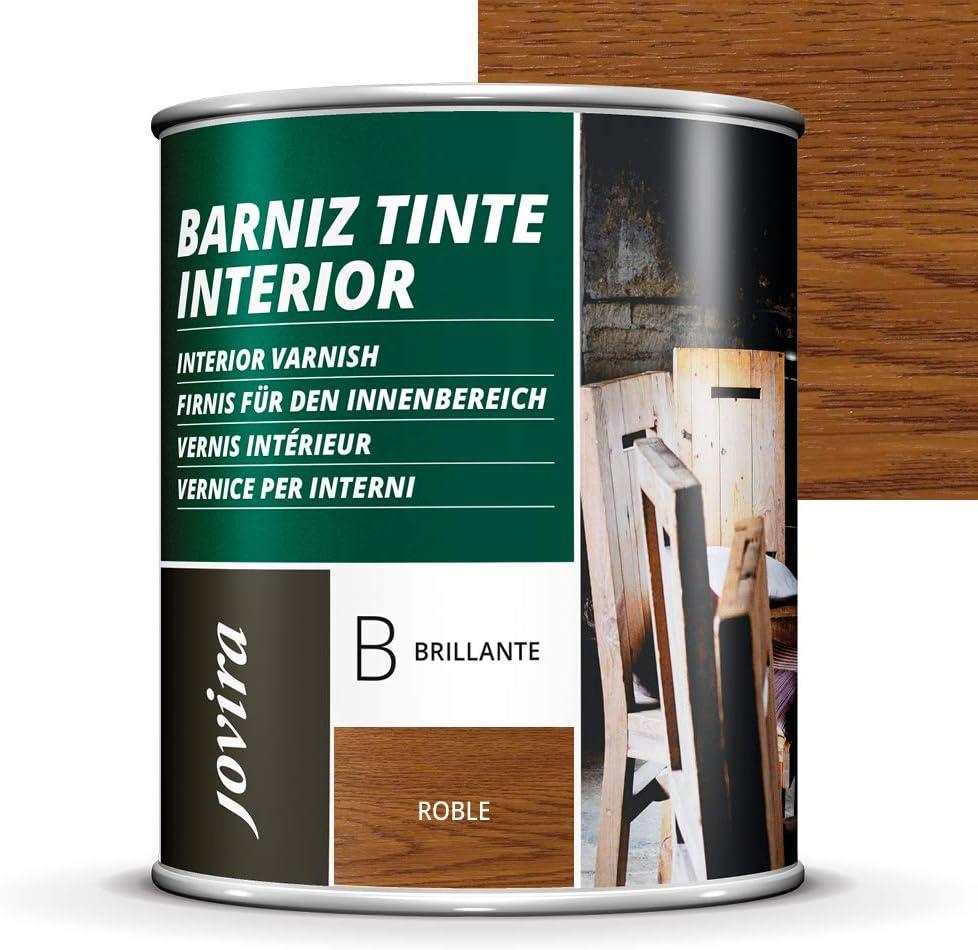 BARNIZ TINTE INTERIOR BRILLANTE, (6 COLORES), Barniz madera, Protege la madera, Decora y embellece la madera. (750ML, ROBLE)