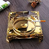 Home Ashtray Crystal Glass Cigarettes Windproof Living Room Coffee Table Multi-function Indoor And Outdoor Ashtray Gold ( Size : 18CM )