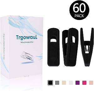Trgowaul Velvet Hangers Clips 60 Pack, Pants Hangers Velvet Clips, Strong Finger Clips Perfect for Thin Velvet Hangers (Black)