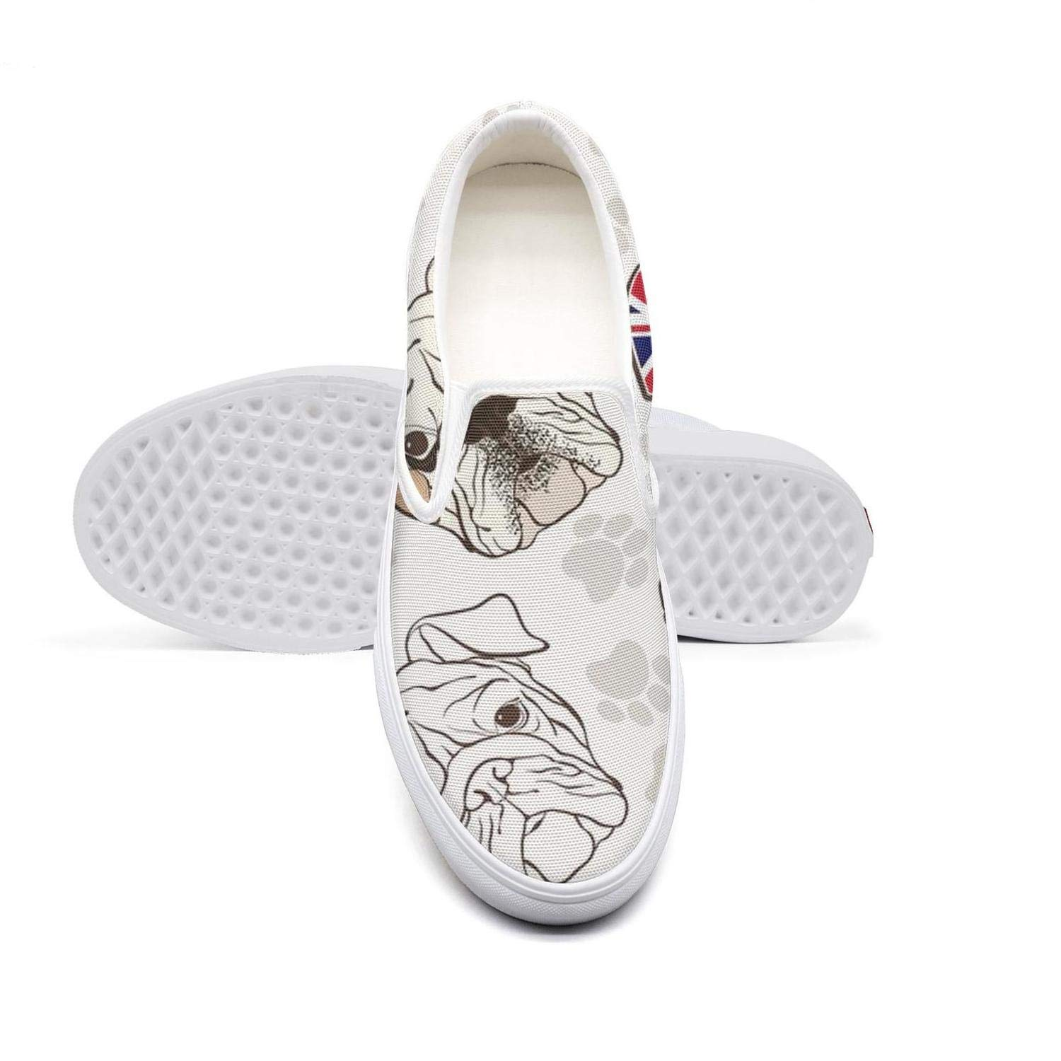 Daisy Fabric French Bulldogs Womens Classic Slip on Basketball Canvas Shoes Athletic Low Top Sneaker