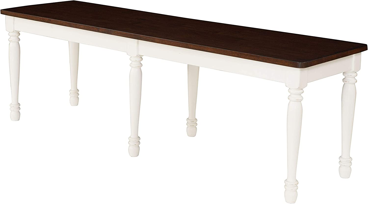 Crosley Furniture CF501118-WH Shelby Dining Bench, Distressed White