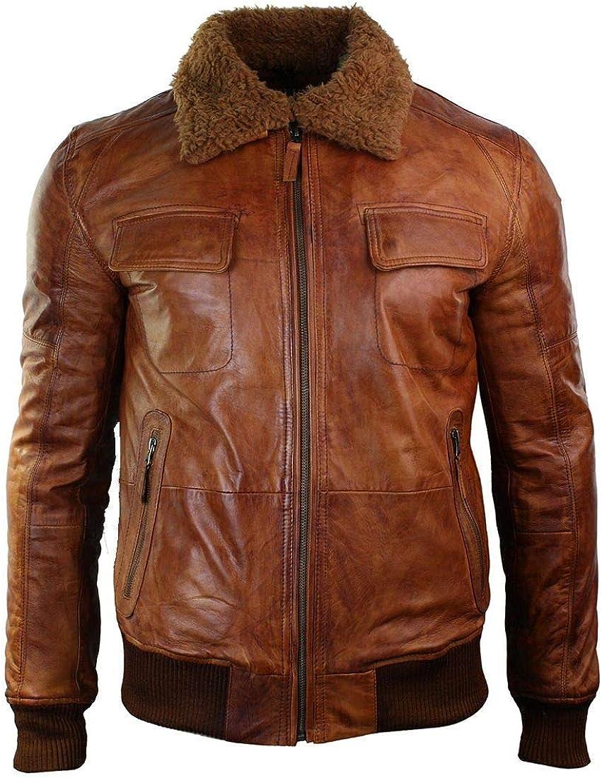 Mens Tan Brown Waxed Aviator Fur Collar Pilot Real Leather Bomber Jacket