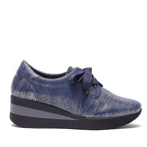 Zapatillas Azules EN Piel GRABADA con Brillo (37, Jeans)