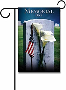 KafePross Memorial Day Calla Lily and American Flag Decorative Patriotic Garden Flag 12.5 x18 Inch Print Double Sided