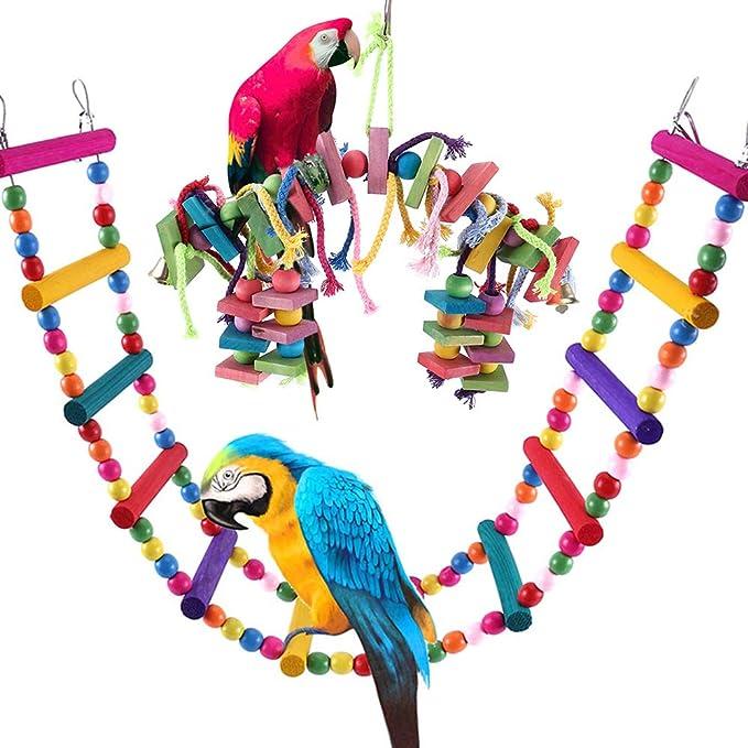 WM Juguete de Pajaros Escalera de Madera Colorida Escalera Ave Escalera Columpio de Pájaros Madera Juguete para Periquitos, Ninfas, Loros: Amazon.es: Productos para mascotas