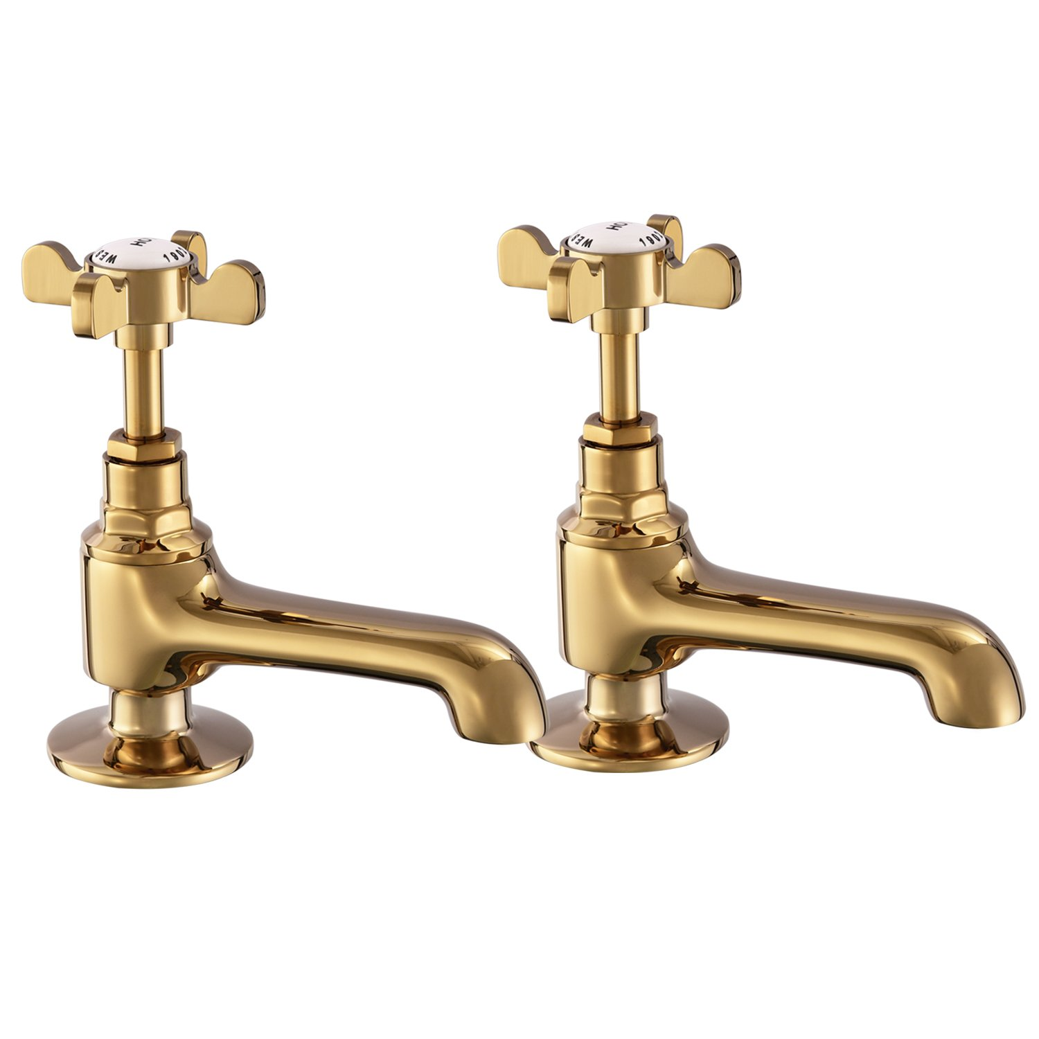 Basin Tap Pair Bronze Basin Sink Hot and Cold Taps Cross Handles Bathroom Taps Traditional Bathroom Faucet Vintage Peppermint