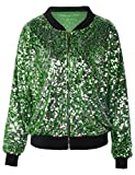 kayamiya Womens Sequin Long Sleeve Front Zip Jacket with Ribbed Cuffs XL Green