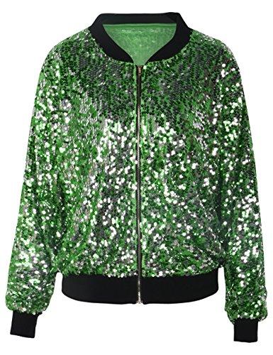 (kayamiya Womens Sequin Long Sleeve Front Zip Jacket with Ribbed Cuffs M Green)