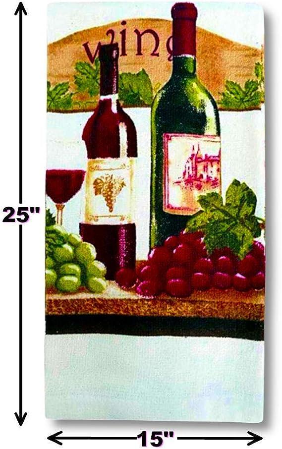 KC PICNIC FARM WINE /& GRAPES 5 pc SET: 2 POT HOLDERS,1 OVEN MITT /& 2 TOWELS