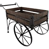 Wood Planters Rustic Wood And Metal 2 Wheeled Wagon Cart/Planter 24.5 X  15.5 X
