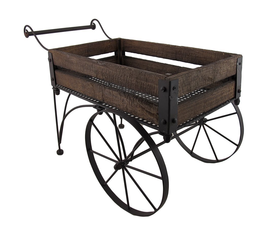 Rustic Wood and Metal 2 Wheeled Wagon Cart Plant Stand