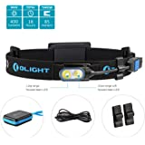 Olight HS2 two LEDs Micro-USB Rechargeable Headlamp 400 Lumen Compact Running flashlight, Spot and Flood dual beams with headband, 2000mAh Reachargeable battery pack and LegionArms sticker