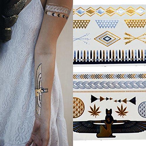 Or Argent noir métallisé tatouages temporaires | Egyptian Designs pour les femmes et les filles | 2 feuilles | Classy Brillant Foiled Tattoo continue comme un tatouage temporaire, mais ressemble à Bijoux | 100 pour cent garantie de remboursement