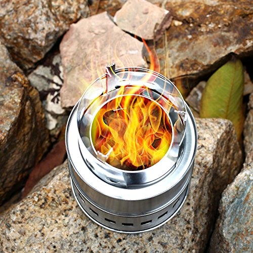 Cido Outdoor wood stove stove picnic stainless steel high-foot wood stove barbecue stove wood charcoal solid alcohol stove