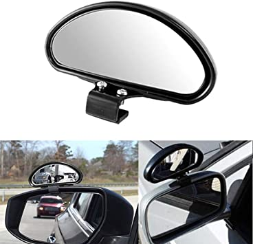 Car Automotive Black Shell Half Oval Side Rear View Auxiliary Blind Spot Mirror