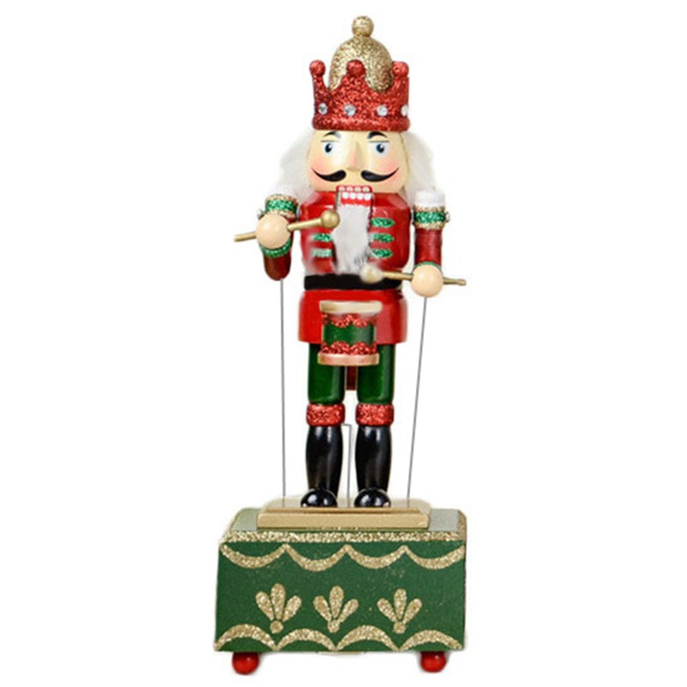 ZaH 12 Inch Christmas Ornament Nutcracker Wooden Music Box Christmas Decorations Gifts Nutcracker Puppets, Drum
