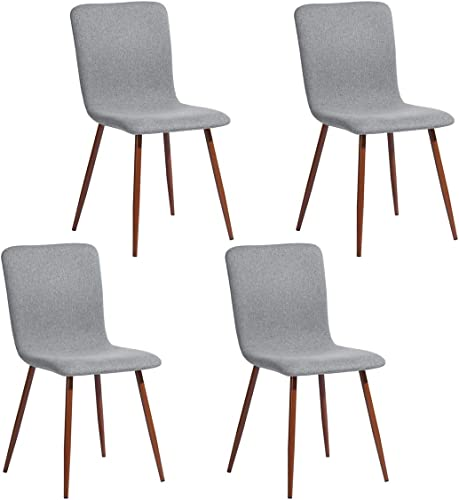 FurnitureR 4 Pcs Dining Chair Unique Style Fabric Cushion Dinning Seat Natural Wood Legs Armless Chairs Set Grey
