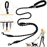 SlowTon Double Dog Lead Splitter, Dual Pet Leash Coupler Connect to Collar Harness Slideable Rope Dog Lead with Soft…