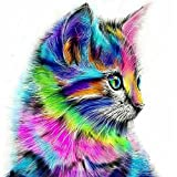 5D Diamond Painting Kit DIY by Number Round Drill Beads Crystal Rhinestone Embroidery Cross Stitch Picture Supplies Arts Craft Wall Sticker Decor-Color Cute Cat 12x12in