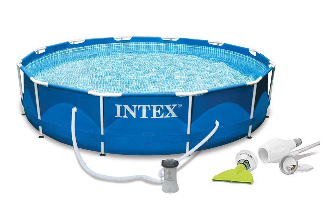 Intex 12' x 30 Metal Frame Set Swimming Pool with Filter Pump & Skooba Vaccum
