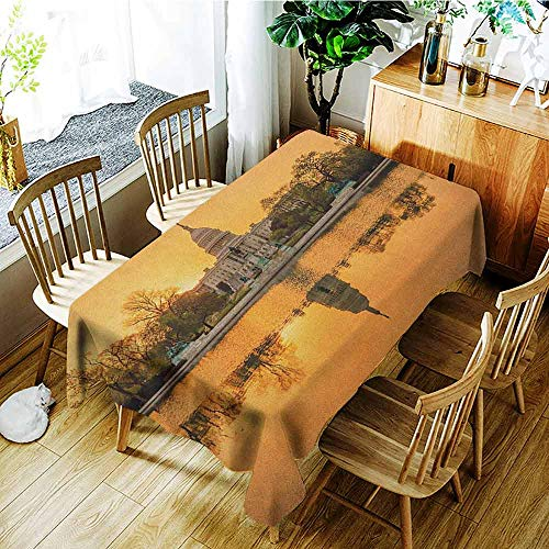 XXANS Washable Tablecloth,United States,Washington DC American Capital City White House Above The Lake Landscape,Table Cover for Dining,W60x84L Apricot -
