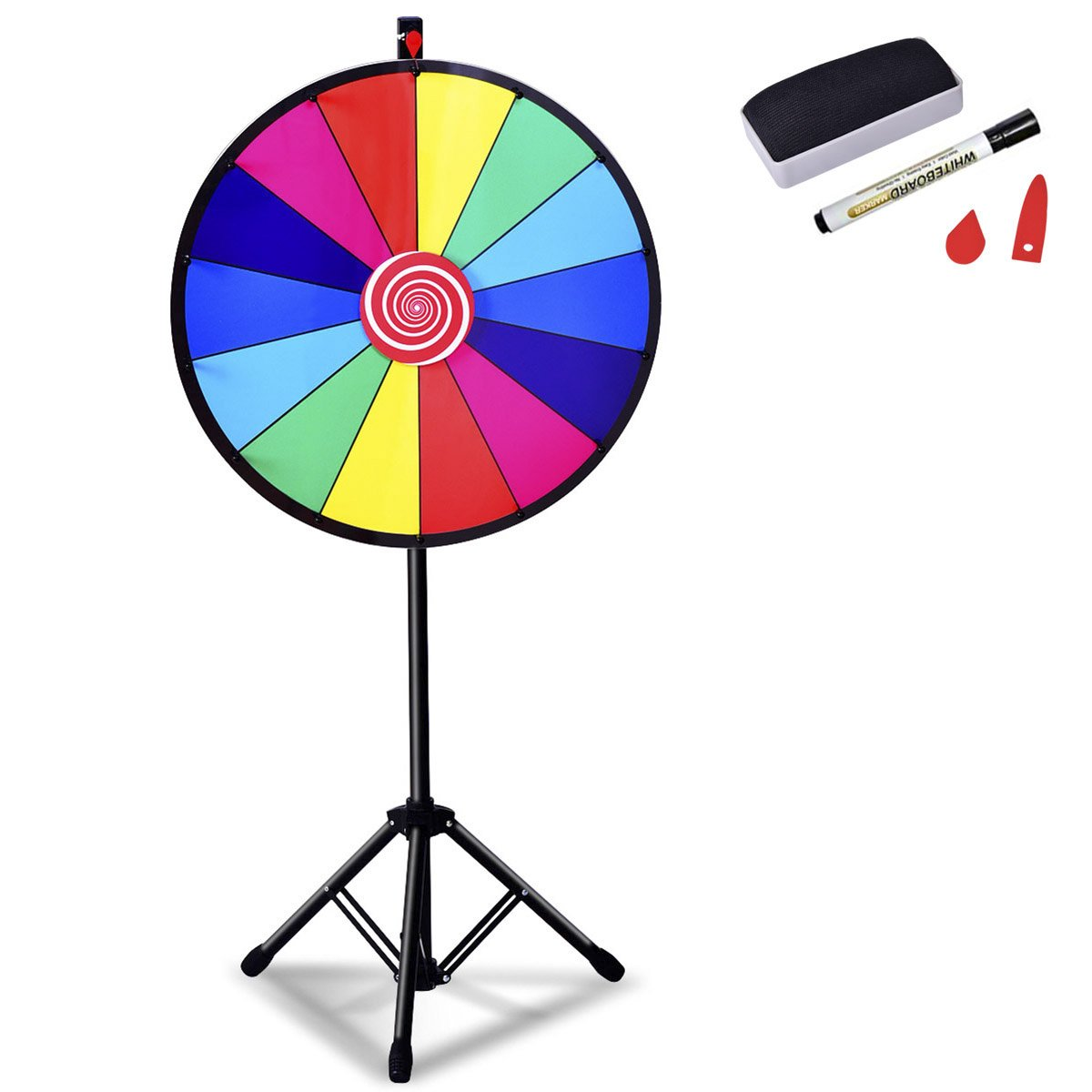 Giantex 24'' Spinning Prize Wheel with Adjustable Tripod Floor Stand Editable Dry Erase Color 14 Slots Tradeshow Carnival Fortune Spinning Game